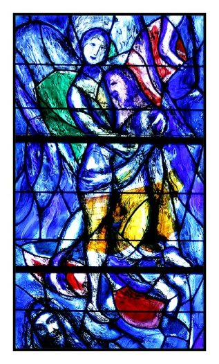 Detail of one of the Chagall windows at Fraumunster, Zurich