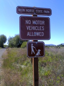 Iron Horse State Park - No Motor Vehicles Allowed - Picture of person holding dog's leash, seems to be floating above dog