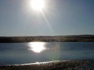 sun over lake