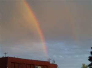 A double rainbow in the sky over Ellensburg, just before a storm swept through.