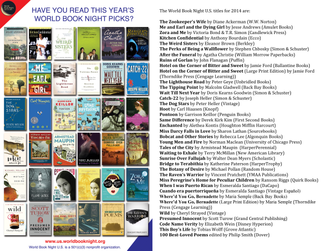 Covers and list of 2014 World Book Night book selections