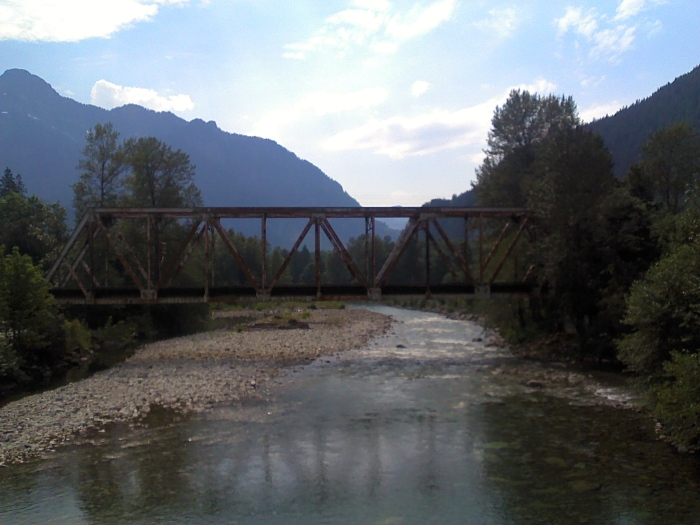 The railroad trestle over the Skykomish river at Index, Wa