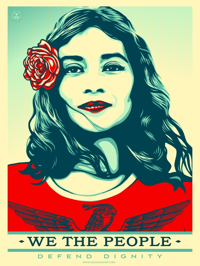 Image of woman gazing, caption We the people, defend dignity by Shepard Fairey